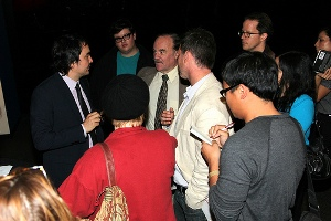 Tim Wu chats with guests at the reception.