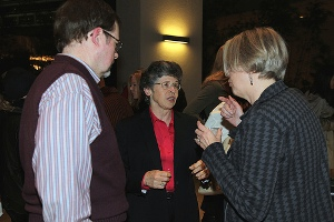 Sara Hodson chats with guests at the reception.